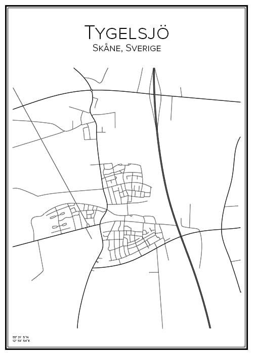 Stadskarta över Tygelsjö