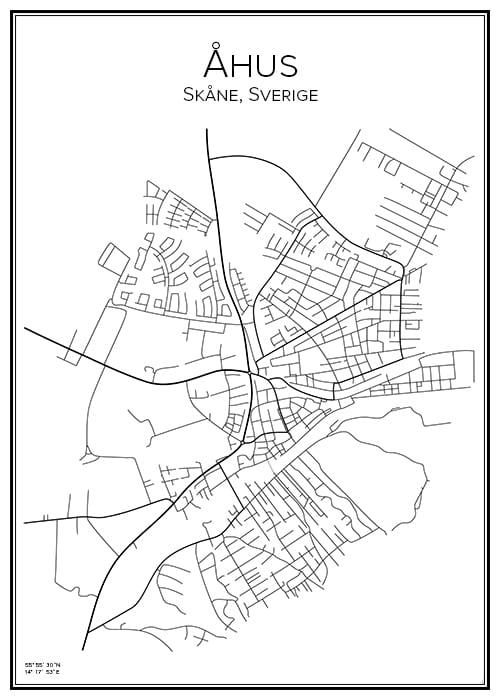 Stadskarta över Åhus