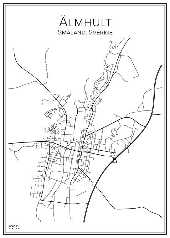 Stadskarta över Älmhult