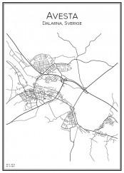 Stadskarta över Avesta