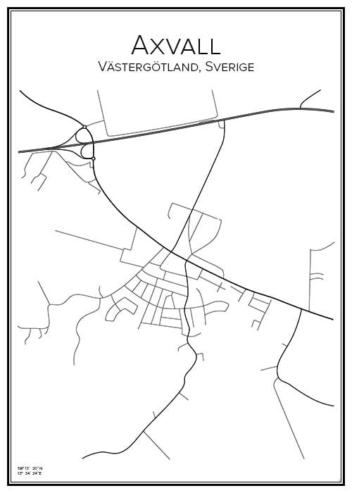 Stadskarta över Axvall