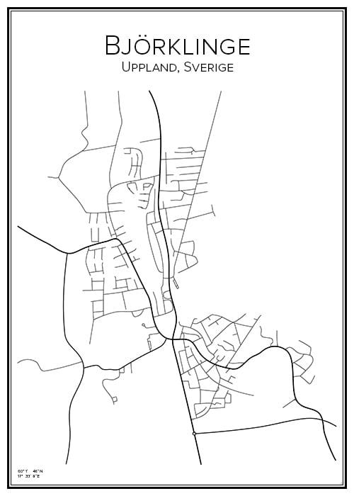 Stadskarta över Björklinge