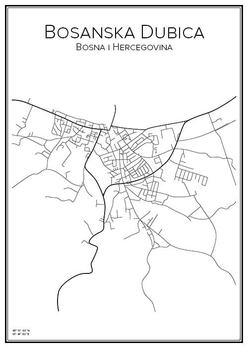 Stadskarta över Bosanska Dubica