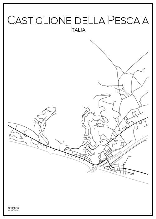 Stadskarta över Castiglione della Pescaia