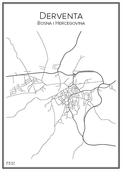Stadskarta över Derventa