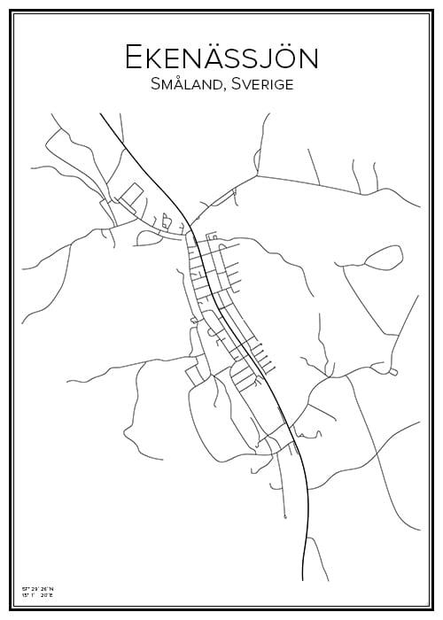 Stadskarta över Ekenässjön