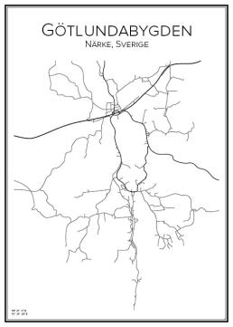 Stadskarta över Götlundabygden