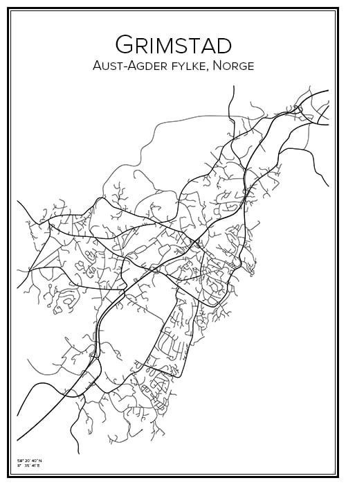 Stadskarta över Grimstad