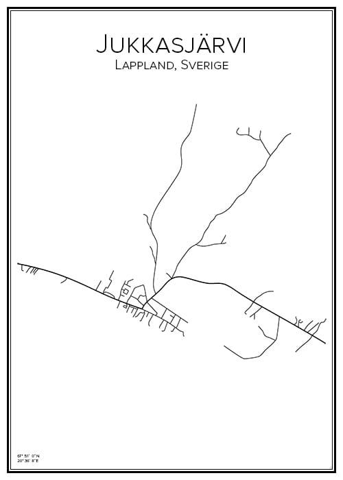 Stadskarta över Jukkasjärvi