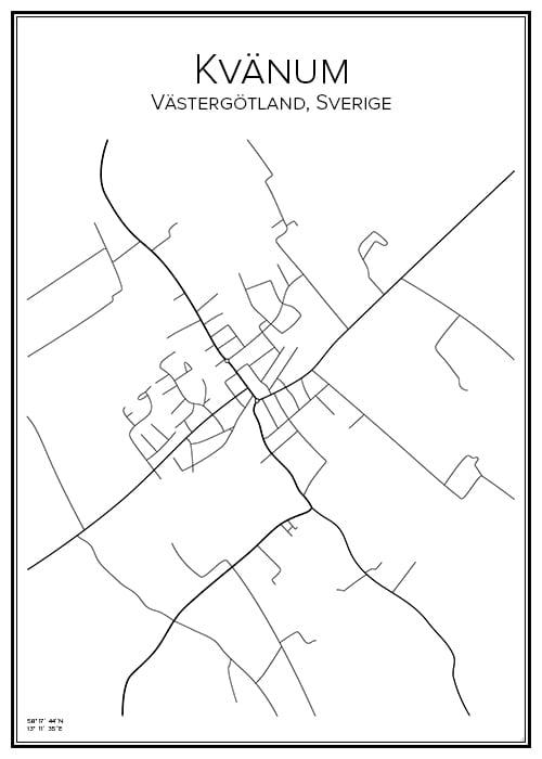 Stadskarta över Kvänum