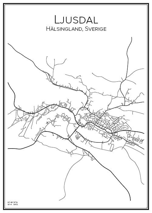 Stadskarta över Ljusdal
