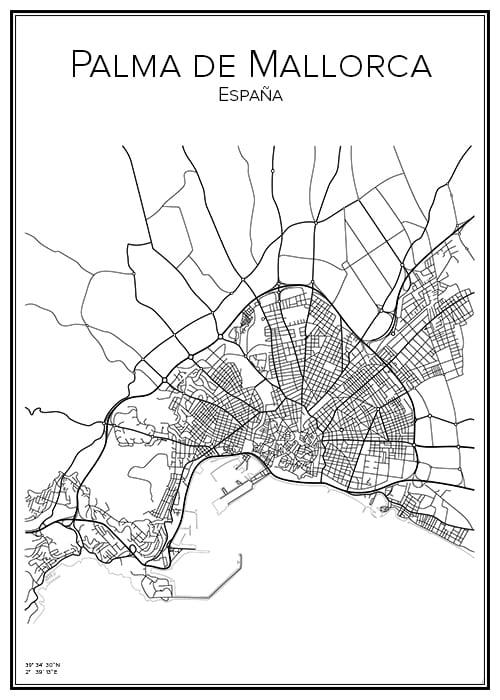 Stadskarta över Palma de Mallorca
