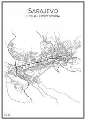 Stadskarta över Sarajevo