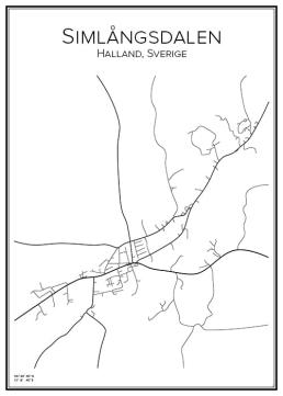 Stadskarta över Simlångsdalen
