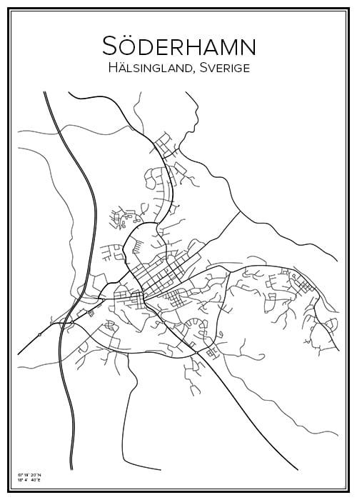 Stadskarta över Söderhamn