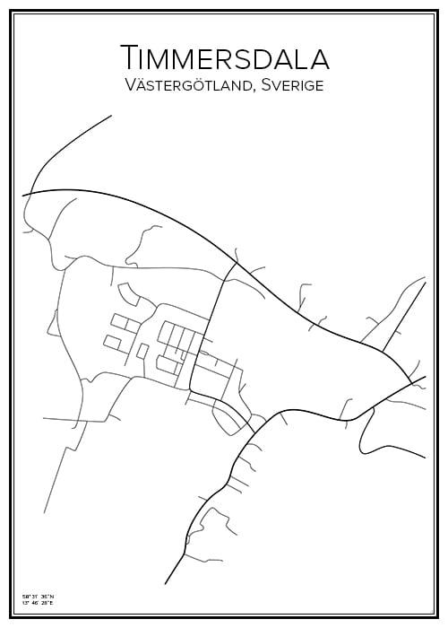 Stadskarta över Timmersdala