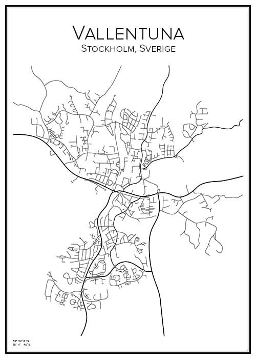 Stadskarta över Vallentuna