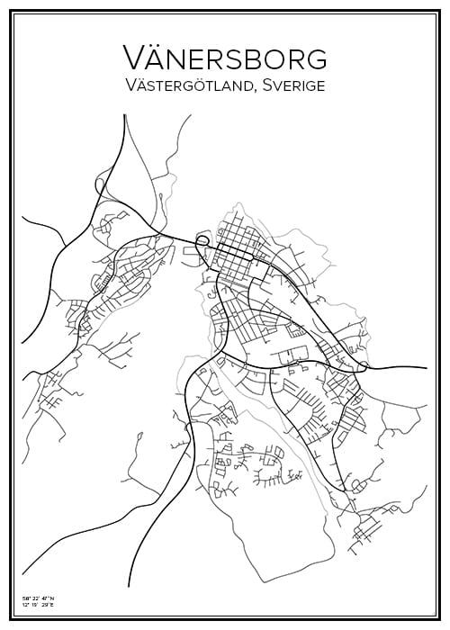 Stadskarta över Vänersborg