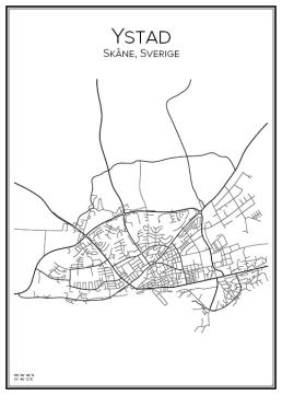 Stadskarta över Ystad