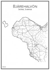 Stadskarta över Bjärehalvön