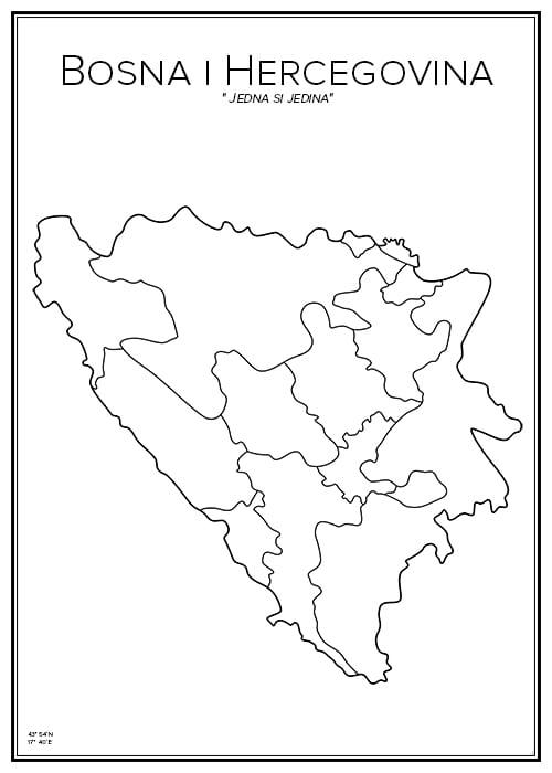 Stadskarta över Bosnien och Harcegovina