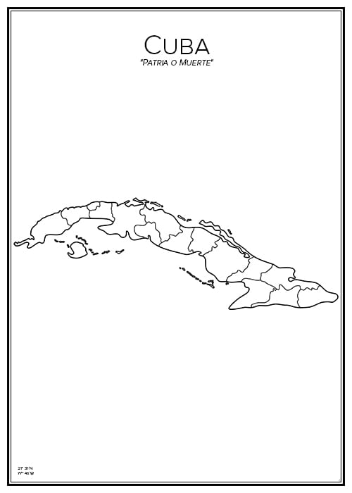 Stadskarta över Kuba