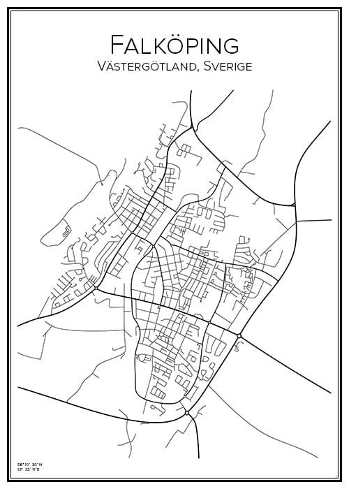 Stadskarta över Falköping