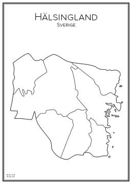 Stadskarta över Hälsingland