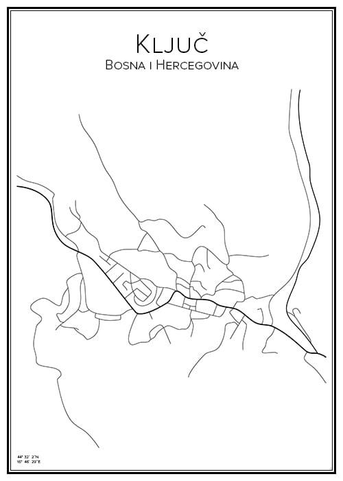 Stadskarta över Ključ