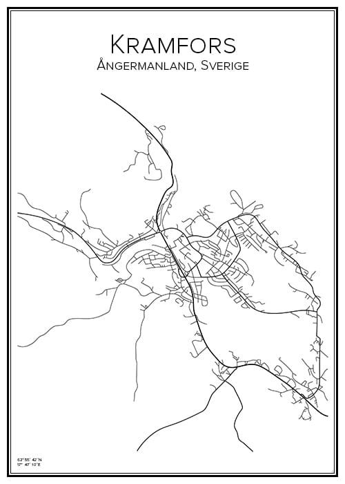 Stadskarta över Kramfors