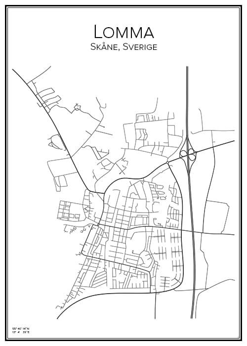 Stadskarta över Lomma