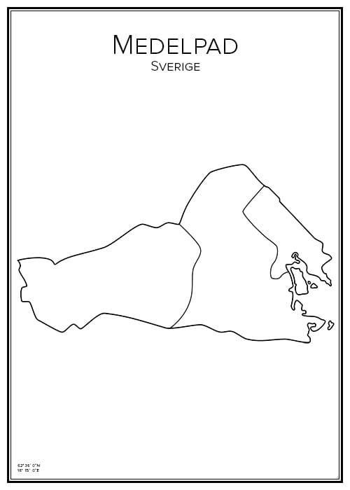 Stadskarta över Medelpad