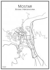 Stadskarta över Mostar