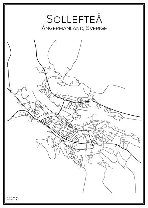 Stadskarta över Sollefteå
