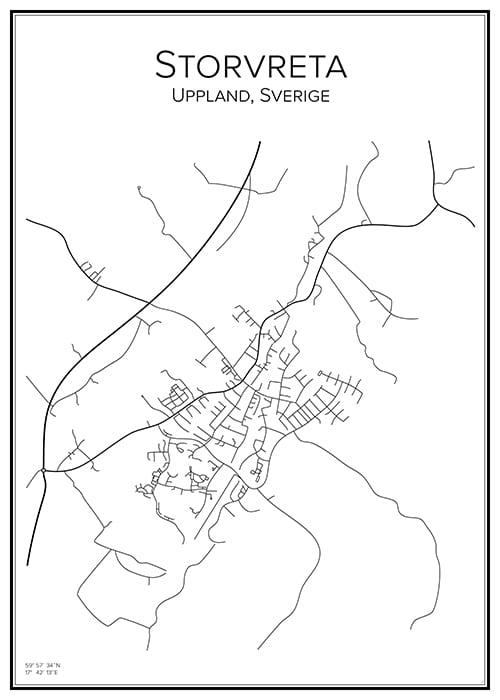 Stadskarta över Storvreta