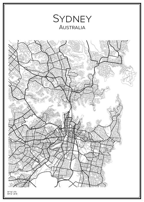 Stadskarta över Sydney