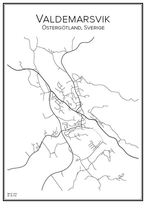Stadskarta över Valdemarsvik
