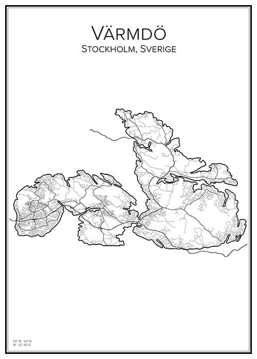 Stadskarta över Värmdö