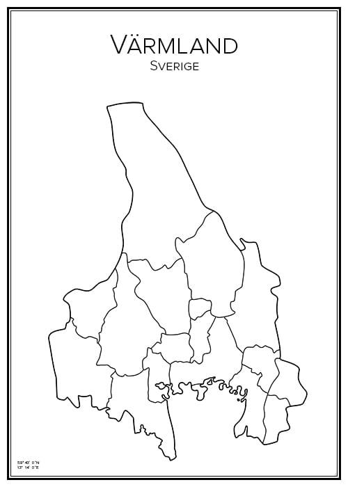 Stadskarta över Värmland