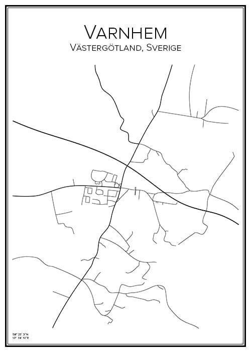 Stadskarta över Varnhem
