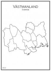 Stadskarta över Västmanland