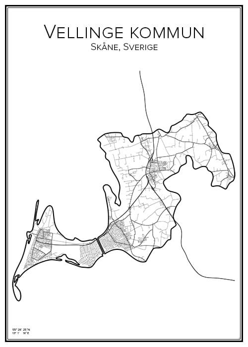 Stadskarta över Vellinge kommun