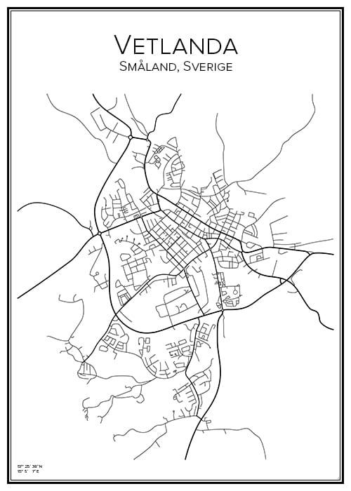 Stadskarta över Vetlanda