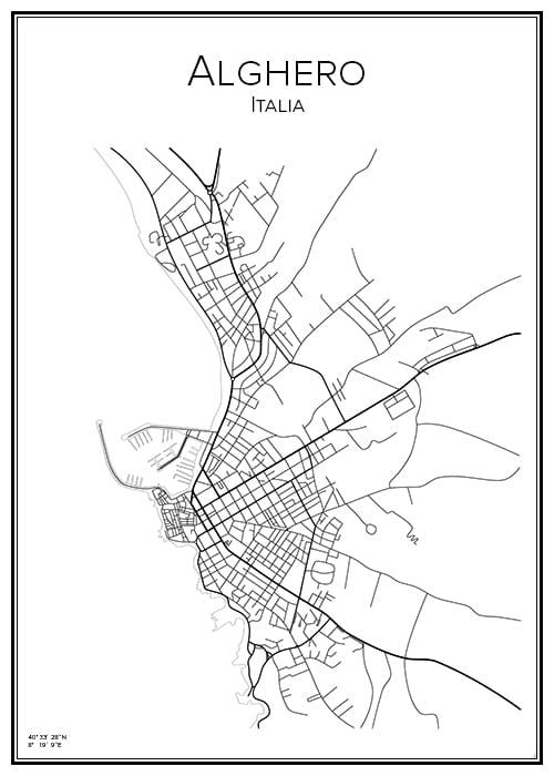 Stadskarta över Alghero