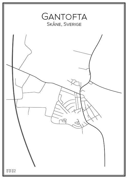 Stadskarta över Gantofta