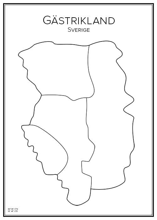 Stadskarta över Gästrikland