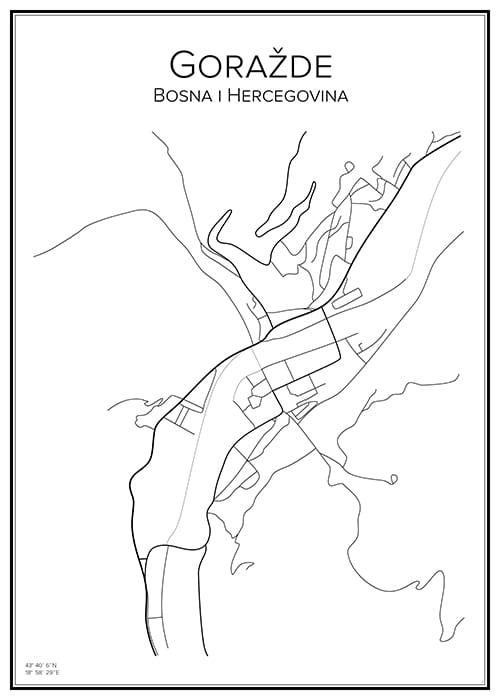Stadskarta över Goražde