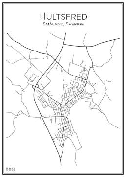 Stadskarta över Hultsfred