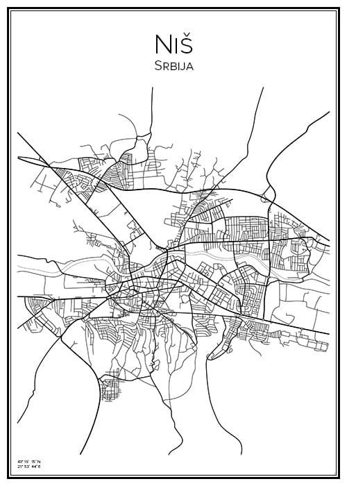Stadskarta över Niš