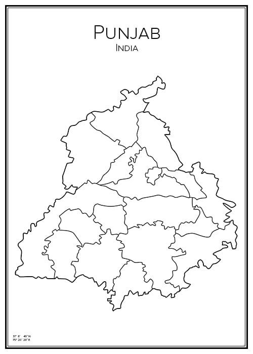 Stadskarta över Punjab